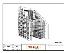 Custom Wine Cellars Chicago Illinois Horizontal Lable Forward Racking and Regular Drawing 3D White