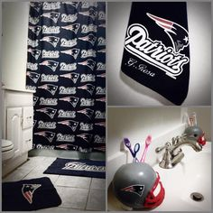 Patriots themed bathroom
