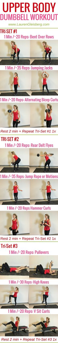 Upper Body Dumbbell Workout | Weight Training Plans for Women  www.LaurenGleisberg.com