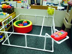 Mobility area for an infant who is visually impaired.