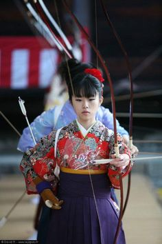 The ancient art of kyudo (archery), Japan