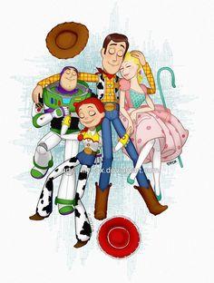 Woody, Bo Peep, Jessie and Buzz - Toy Story Jessie Toy Story, Toy Story 3, Toy Story Party, Disney Amor, Disney Magic, Disney E Dreamworks, Disney Pixar, Disney Fan Art, Pixar Movies