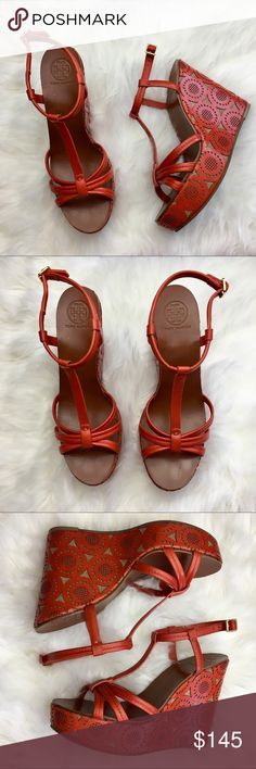 Rare Tory Burch Orange Wedge Sandals Gorgeous pre owned Tory Burch wedges, gently used, look like new. Size 10.5 run true to size Tory Burch Shoes Platforms