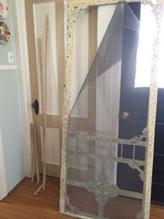 Vintage Screen Door Given New Life! - I've been searching for an old screen door to replace my wooden pantry door for months! Vintage Screen Doors, Old Screen Doors, Screen Door Pantry, Wooden Pantry, Exterior Doors, Ladder Decor, Home And Garden, Curtains, Modern