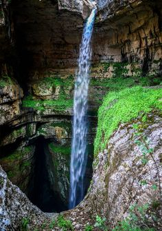 This waterfall is born when winter snow melts. Three Bridges Cave, Baatara Gorge Waterfall, Lebanon