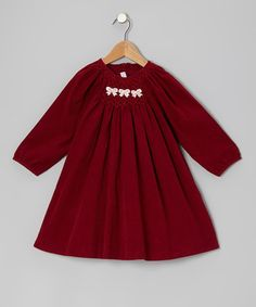 Take a look at this Red Bow Corduroy Dress - Infant & Toddler by Fantaisie Kids on #zulily today!