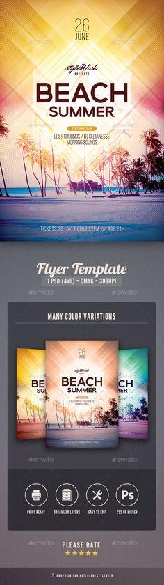 Beach Summer Flyer Template PSD. Download here: http://graphicriver.net/item/beach-summer-flyer/16226526?ref=ksioks