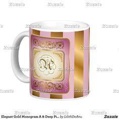Elegant Gold Monogram A & Deep Pink Mug