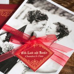 Sending a thank you to your best friend or family member? Look through your wedding photos first to find a photo taken of the two of you at your wedding! Print it out and adorn with a ribbon and matching favor tag to send together with your thank you card. The smallest details can make your message and shared memories all the more meaningful.