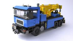 A minifig scale version of the truck I built in built for my motorized City diorama and for a contest in LUG Kockice. Lego Technic Truck, Lego Truck, Lego Tractor, Lego Crane, Lego Village, Lego Boat, Lego Construction, Lego Worlds, Lego News