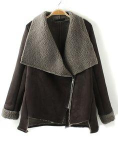 Love...Love...Love this Black Patchwork Zipper Long Sleeve Velvet Padded Coat! #winter #fashion