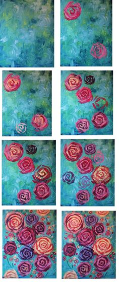 Canvas Painting Tutorials, Painting Lessons, Painting Techniques, Diy Painting, Beginner Painting, Painting Flowers, Diy Canvas, Canvas Art, Painting Canvas
