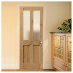 Rustic Oak 1930 DX Shaker Prefinished Door With Obscure Safety Glass Internal Cottage Doors, Internal Doors, Wooden Front Doors, The Doors, Cottage Doors Interior, Interior Door Styles, Shelving Ideas, Block Wall, Safety Glass