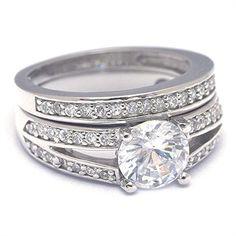 Silver Engagement Wedding Ring Set Simulated Diamond
