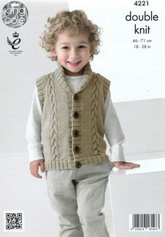Boys Knitting Pattern Childrens Long Sleeve V-Neck Cable Cardigan Knitting Pattern DK (Light Worsted) King Cole - Babykleidung Baby Boy Knitting Patterns, Baby Sweater Knitting Pattern, Knit Vest Pattern, Knitting For Kids, Baby Knitting, Baby Boy Vest, Baby Boy Cardigan, Boys Waistcoat, Quick Knits