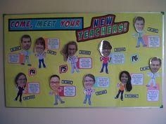 bobble head board a bulletin board — with head-bobbling action!