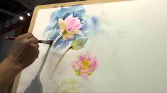 Adisorn Lotus 1 of 4 Watercolor Lotus, Watercolor Video, Watercolour Tutorials, Watercolor Flowers, Lotus Drawing, Painting & Drawing, Watercolor Paintings, Watercolours, Illustrator Tutorials