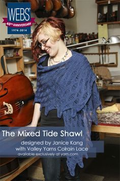 The Mixed Tide Shawl designed by Janice Kang in Valley Yarns Colrain Lace - available exclusively at yarn.com