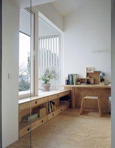 shelf under windows!! A Suspended Room by NeM Architectes, Gentilly, France - 2012: