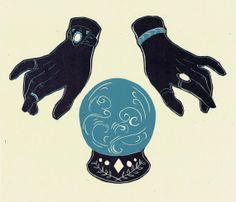 Crystal Ball Linocut Print by MarissaRoseJohnson