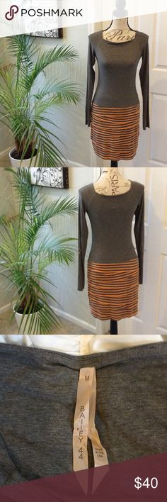 """Poshmark 2016 HP Bailey 44 Jersey Ruffle Dress Med Comfy and super stylish Bailey 44 dress. Grey and peach jersey style dress with stretch. Rayon/Spandex blend. Long sleeves. Features ruffle like cut (raw hem) below the waist. Size M. Approx. 15.75"""" underarm to underarm lying flat unstretched, 28"""" underarm to bottom hem. Bailey 44 Dresses Long Sleeve"""
