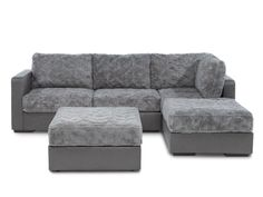 The future is here!  Chaise Sectional Sofa & Ottoman with Reversible Moonrock Dense Phur / Moonboot Cracked Microleather Covers | Lovesac Sactionals Winter 2013 Collection