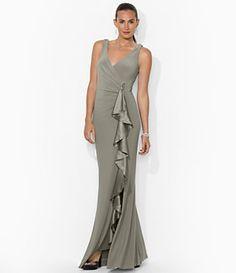 Lauren Ralph Lauren Sleeveless Cascading Ruffle Gown   Dillard's Mobile