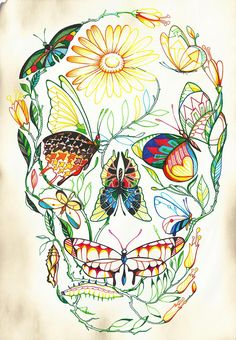 METAMORPHOSIS by . ♦ F L F ♦ WOW...THIS IS ONE OF THE MOST AMAZING DRAWINGS I'VE EVER SEEN..I LOVE~LOVE HOW ALL THE BUTTERFLIES ARE DIFFERENT SHAPES & COLORS & INTERTWINED WITH EVERYTHING ELSE TO THE FINAL LOOK OF A SKULL...CRAZY COOL!!!! <3