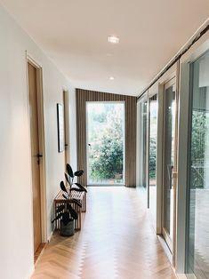 Good morning! ☀️ Slat Wall, Wood Wall, Acoustic Design, Wood Panel Walls, Wooden Slats, Acoustic Panels, Grey Oak, White Walls, Sliding Doors