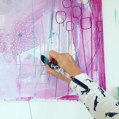 Ny uge. Nye malerier. Og gamle pensler. Trænger vist til nye. // New week. New paintings. #doitfortheprocess