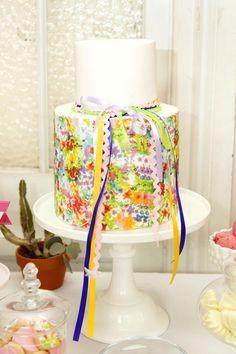 A Bright Summer Fiesta Watercolor cake
