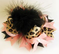 Pink and Leopard Stacked Boutique Hair Bow with Bling and Marabou Valentine's Day