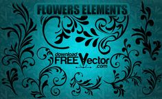 vector flowers elements - Downloadfreevector.com-Flowers-Pin-17