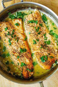 Trout with Garlic Lemon Butter Herb Sauce http://juliasalbum.com/2015/10/trout-with-garlic-lemon-butter-herb-sauce/