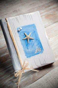 Wooden handpainted summer themed guest book