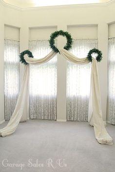 33 New Ideas for diy wedding arch tulle backdrop ideas Diy Wedding Archway, Wedding Arch Tulle, Winter Wedding Arch, Wedding Ceremony Backdrop, Wedding Wreaths, Ceremony Arch, Wedding Table, Wedding Ideas, Wedding Church