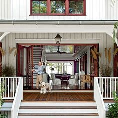 Southern Nice, big, welcoming front porch with sliding glass doors