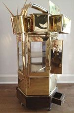 Amazing vintage dim sum cart.  Straight from Hong Kong in glorious, polished brass.