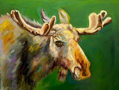 ARTOUTWEST DIANE WHITEHEAD Moose art oil painting Western Wildlife art -- Diane Whitehead
