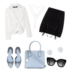 Business style. #business #outfit #woman #style #blue #girlboss  by timea0117 on Polyvore featuring polyvore fashion style Jacquemus MICHAEL Michael Kors Riah Fashion Gucci clothing