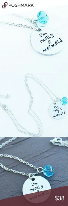 "Mermaid Necklace ""I'm Really A Mermaid"". High quality pendant necklace featuring hand stamped text and blue crystal dangle. 17"" length chain. Maid of stainless steel silver. Hand crafted with love in the USA. Twilight Gypsy Collective Jewelry Necklaces"