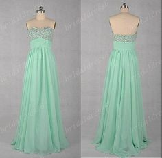 2014 Mint Sweetheart Cyrstals Strapless A-Line Long Ruffled Bridesmaid Dress,Floor Length Chiffon Evening Party Prom Dress on Etsy, $99.00