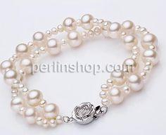 Natürliche kultivierte Süßwasserperlen Armband, natürlich, 2 strängig, weiß, 3-8mm, Länge:ca. 7 Inch, verkauft per 7 Inch, - perlinshop.com