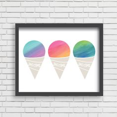 Watercolor 3 Sno Cones Home Decor Nursery Wall Art - 3 Sno Cones - or Nursery Wall Art, Nursery Decor, Nursery Ideas, Bedroom Decor, Lilac Nursery, Sno Cones, Wall Art Prints, Framed Prints, Baby Stickers