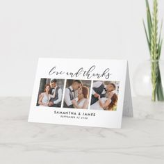 Elegant Handwritten Script 4-Photo Folded Wedding Thank You Card Photo Thank You Cards, Wedding Thank You Cards, Wedding Script, Thank You Card Template, 4 Photos, Wedding Save The Dates, Elegant Wedding, Holiday Cards, Wedding Photos
