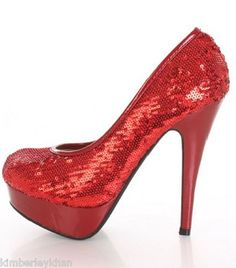 Red Sequin wedding stiletto stripper platform womens high heel pumps