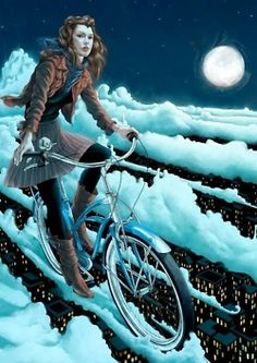 The bicycle is art. Painting of girl riding clouds in the sky. #bicycleart