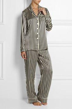 Olivia Von Halle - Lila Nika - Black and off-white silk-satin Button fastenings through front 100% silk Dry clean