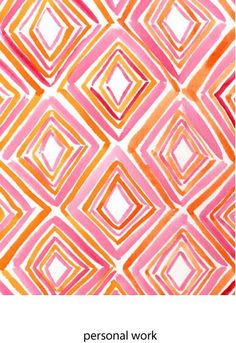 pink and orange Raychel Yearsley onto art inspiration Geometric Patterns, Textile Patterns, Textile Design, Fabric Design, Geometric Prints, Graphic Prints, Pretty Patterns, Color Patterns, Painted Patterns