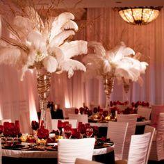 pintrest feather decoration | Feather centerpieces | 1920's Ballroom/Art Deco…